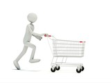 Buyer with empty shopping cart isolated on white poster