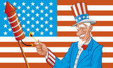 Uncle sam in fourth of july poster