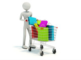Buyer with full shopping cart isolated on white poster