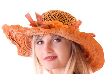 Beautiful woman in vintage hat isolated on white