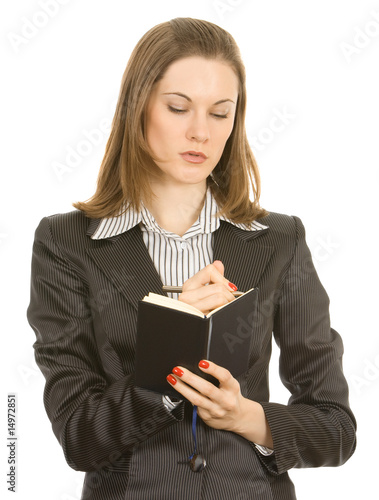 Friendly businesswoman with a notebook. Isolated on white