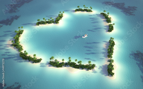 aerial view of heart-shaped island - 14973278