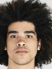Young man with afro, close-up