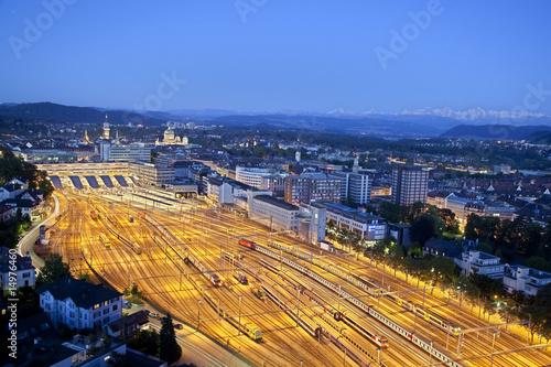 Leinwanddruck Bild Bern bei Nacht