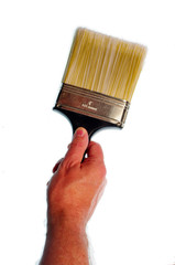 hand holding paint brush