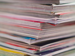 Magazines Unevenly Stacked Edge Focus