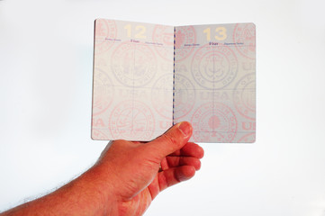 Hand holding open passport