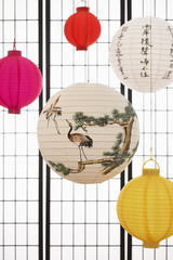 Paper lanterns hanging against paper screen
