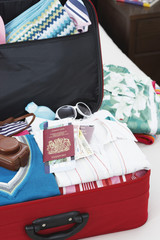 Open suitcase on bed, elevated view, close up