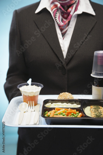 Stewardess holding tray with airplane food, mid section