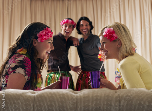 Two couples at dressing up party