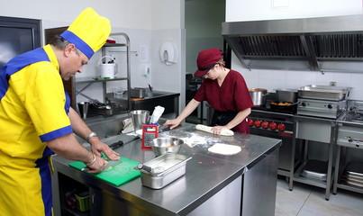 Preparing pastry in a restaurant kitchen