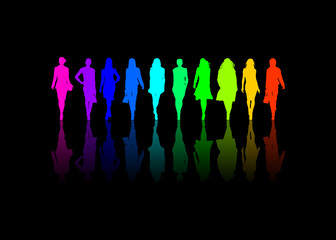 10 colored silhouette of women