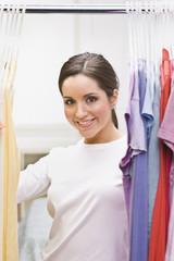 Beautiful Brunette in Closet
