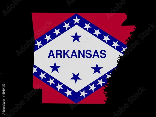 Arkansas Flag as the territory Map on the Black Background