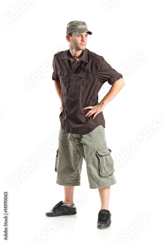 Casual young man isolated on white background