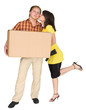 Girl kisses the guy holding a box