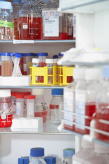 Lab supplies on shelves