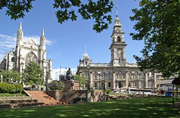 The Octagon, center of Dunedin, New Zealand