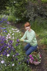 Woman picking flowers in garden, portrait