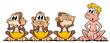 Leinwanddruck Bild - 4 Affen
