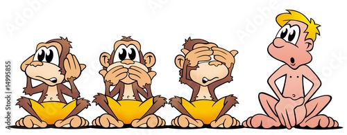 Leinwanddruck Bild 4 Affen