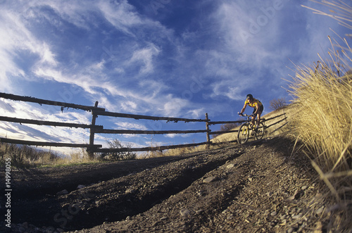 Man mountain biking along path