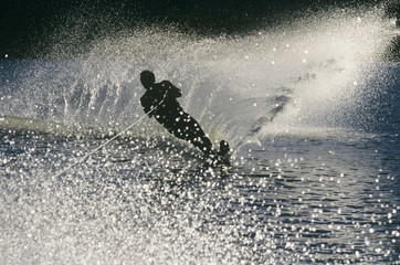 Water skier in action, silhouette