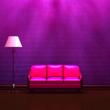 Pink couch  and standard lamp in  purple minimalist interior poster