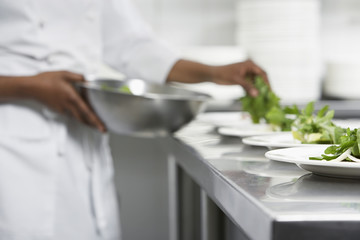 Chef preparing salad in kitchen, mid section