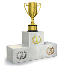 Podium with golden trophy