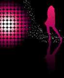 Fototapety Sexy girl dancing with a disco ball and stars on glossy floor