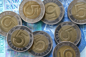 Some polish coins on a 50 PLN banknote