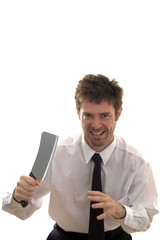 Slashing through business man with meat cleaver
