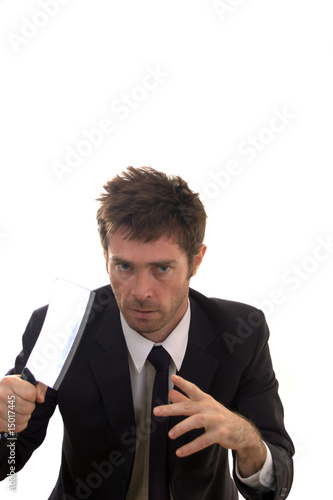 Nut case business man armed with meat cleaver