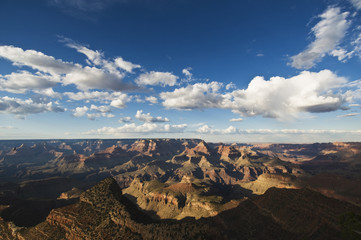 Grand Canyon during the day with blue sky.