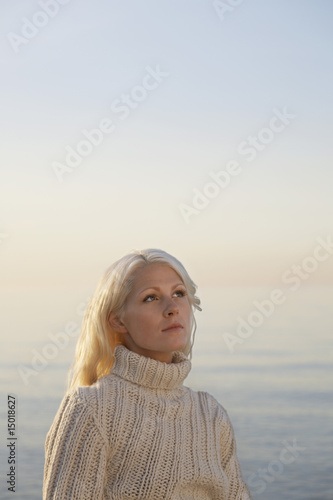 Young woman on beach, portrait