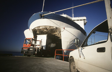 Cargo being loaded onto ferry, Port Melbourne, Victoria, Australia