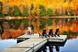 Wooden dock on autumn lake - 15021061