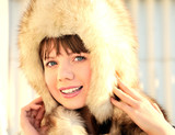 beauty in fur hat