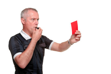 Referee showing the red card side profile