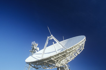 Telecommunications satellite dish and communications towers