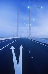 Road markings on freeway bridge, Melbourne, Australia