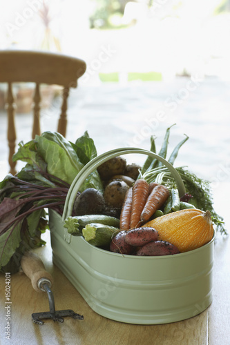 Fresh vegetables on table, close-up