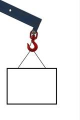 Freigestelltes Schild am Haken