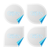 Vector set of stickers with peeling corners. Insert graphics. poster