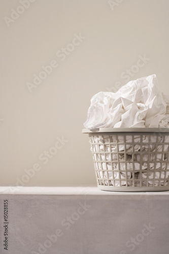 Laundry basket on table