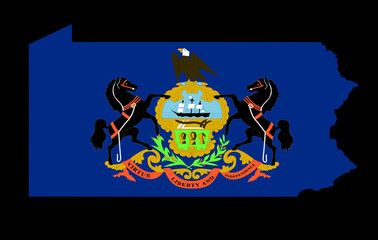 Pennsylvania Flag as the territory Map on the Black Background