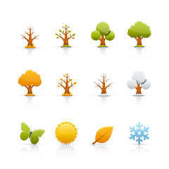 Icon Set - Tree Four Seasons