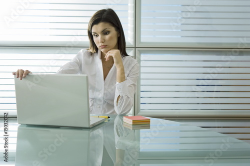 Professional woman looking at laptop